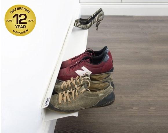 horizontal shoe rack white