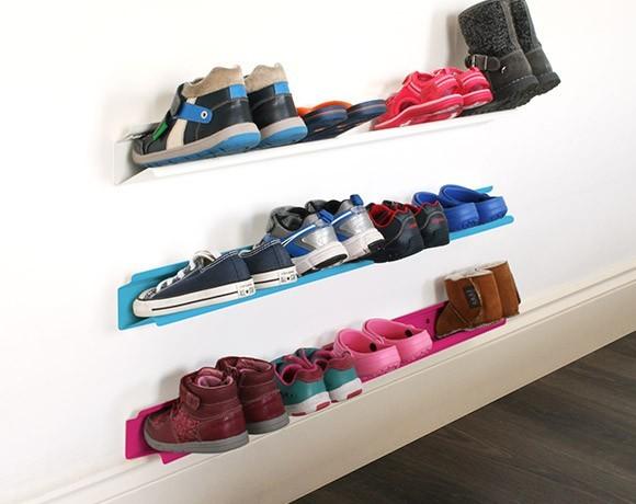 kids horizontal shoe rack - wall mounted shoe rack stacked