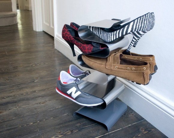 nest free standing shoe rack insitu