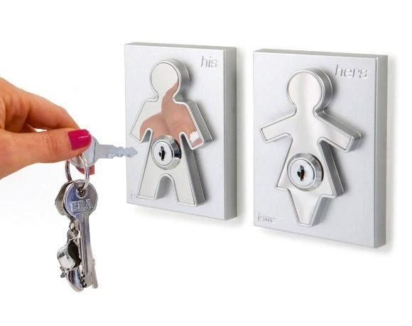 his and hers key holder for wall