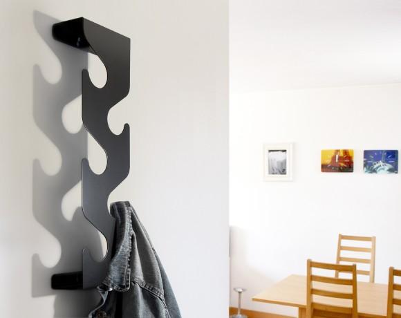 wave wall mounted coat rack black